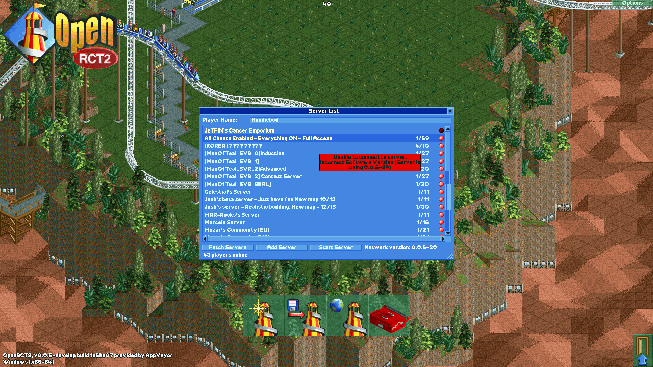 My openrct2 isnt updated to 0 0 6-29  - Problems, Bugs and